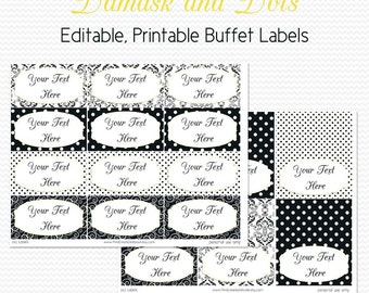 Buffet Labels and Place Cards, Black and White, Damask and Dots, Yellow Accent, Food Tent, Bridal Shower Decoration - Editable, Printable