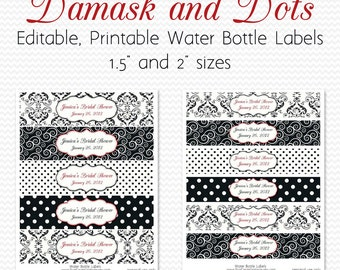 Water Bottle Labels, Black and White, Red, Damsak and Dots Birthday Party Decor, Bridal Shower Decoration -- Editable, Printable