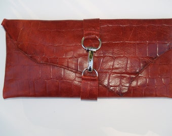 Red Croc Leather Envelope Handbag with Polished Metal Accent Closure