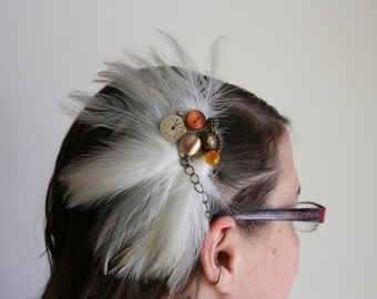 Steampunk Hair Clip  Renaissance Head Piece - made with vintage feathers and gadgets