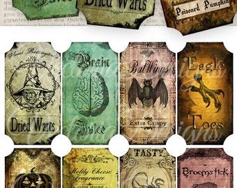Halloween Bottle Jar Labels Tags instant download printable images digital collage sheet VD0093