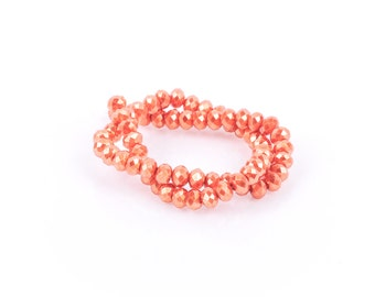 6x4mm Metallic Pearl TANGERINE ORANGE Opaque Crystal Glass Faceted Rondelle Beads, full strand, bgl0068