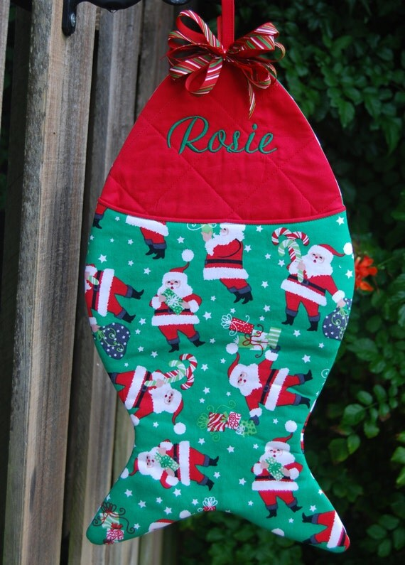Fish shaped christmas stocking personalized by sewyoungatheart for Fish christmas stocking