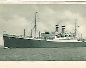 Antique 1910 Postcard Hamburg American Linie Postkarte Ship Souvenir Ocean Nautical Steam Ship