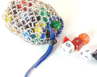 Dice Bag For Dungeons & Dragons Dice Gaming Medium Chainmaille Bag Aluminum - CBD-M-A