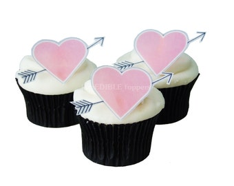 Valentines Day CAKE TOPPERS - 12 Large Edible Hearts and Arrows - Cupcake Toppers, Kids Cakes