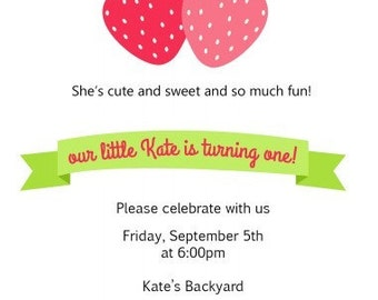 Sweet Strawbery Invitations