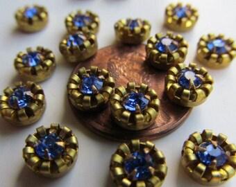 "Mini Vintage Swarovski  Sapphire  ""Crown"" Finding"