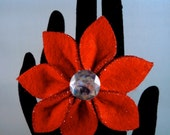 Bright Red Poinsettia Christmas Holiday Statement Ring (adjustable)