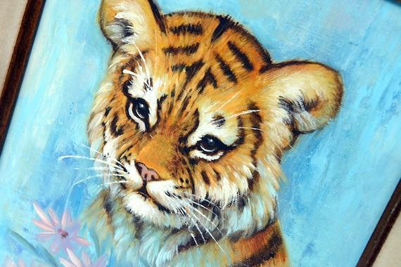 Vintage Art Original Painting Tiger Cub Mid Century Wall