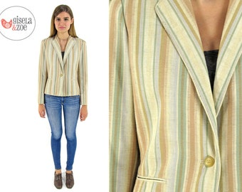 80s Striped Fitted Blazer ΔΔ Earth-Tones Fitted Jacket Mens Wear Tailored Blazer ΔΔ sm / md