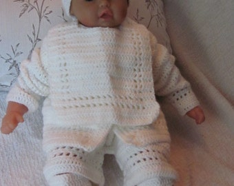 Handmade Newborn Baby Crochet  Cardigan, Pants, Booties, Bib and  Hat  set. Perfect Shower Gift or Take Home Outfit