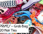 GRAB BAG - 20 Random PRINTED Elastic Hair Ties / Bracelets / Hair Band - Anthropologie Inspired