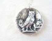 Owl with flowers fine silver charm and necklace for Valentine's day