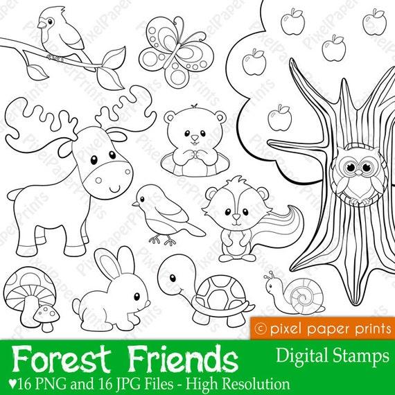 forest friends digital stamps