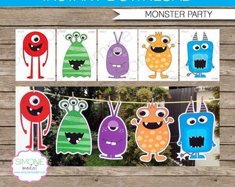 Monster Party Decoration - Monster Cut-Outs - INSTANT DOWNLOAD digital file - US Letter, Tabloid, A4, A3 Sizes