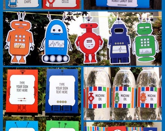 Robot Birthday Party Decorations & Invitation - full Printable Package - INSTANT DOWNLOAD with EDITABLE text - you personalize at home