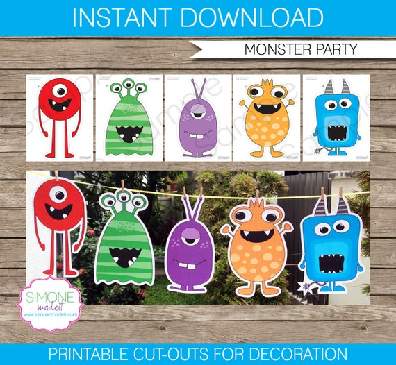 monster party decoration monster cutouts instant download