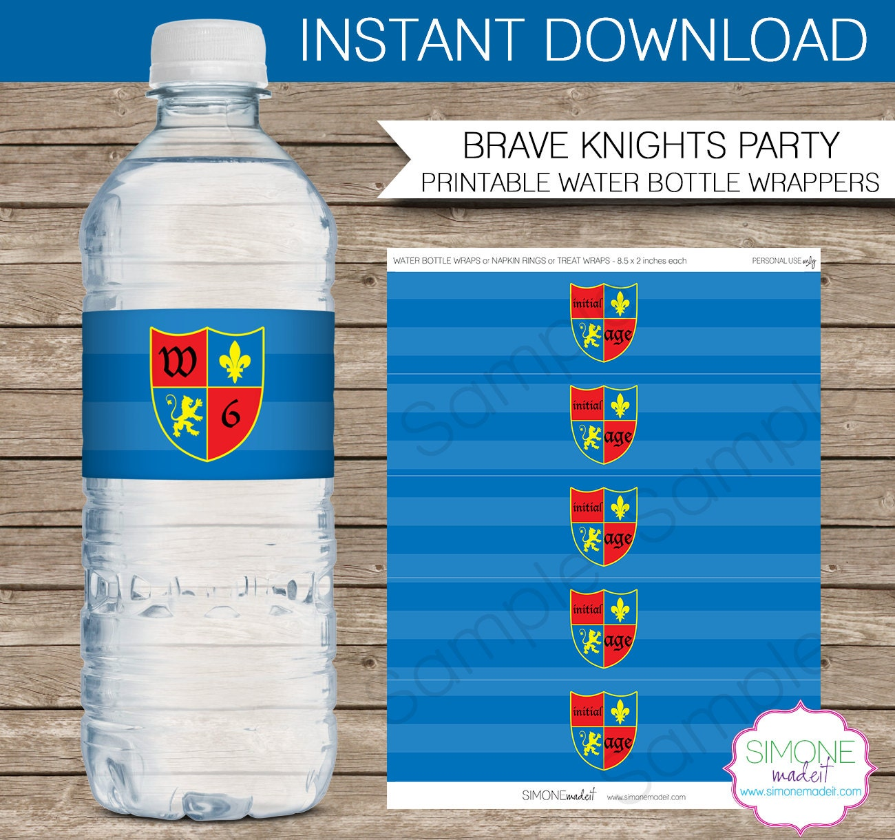 knights party water bottle labels or wrappers by simonemadeit