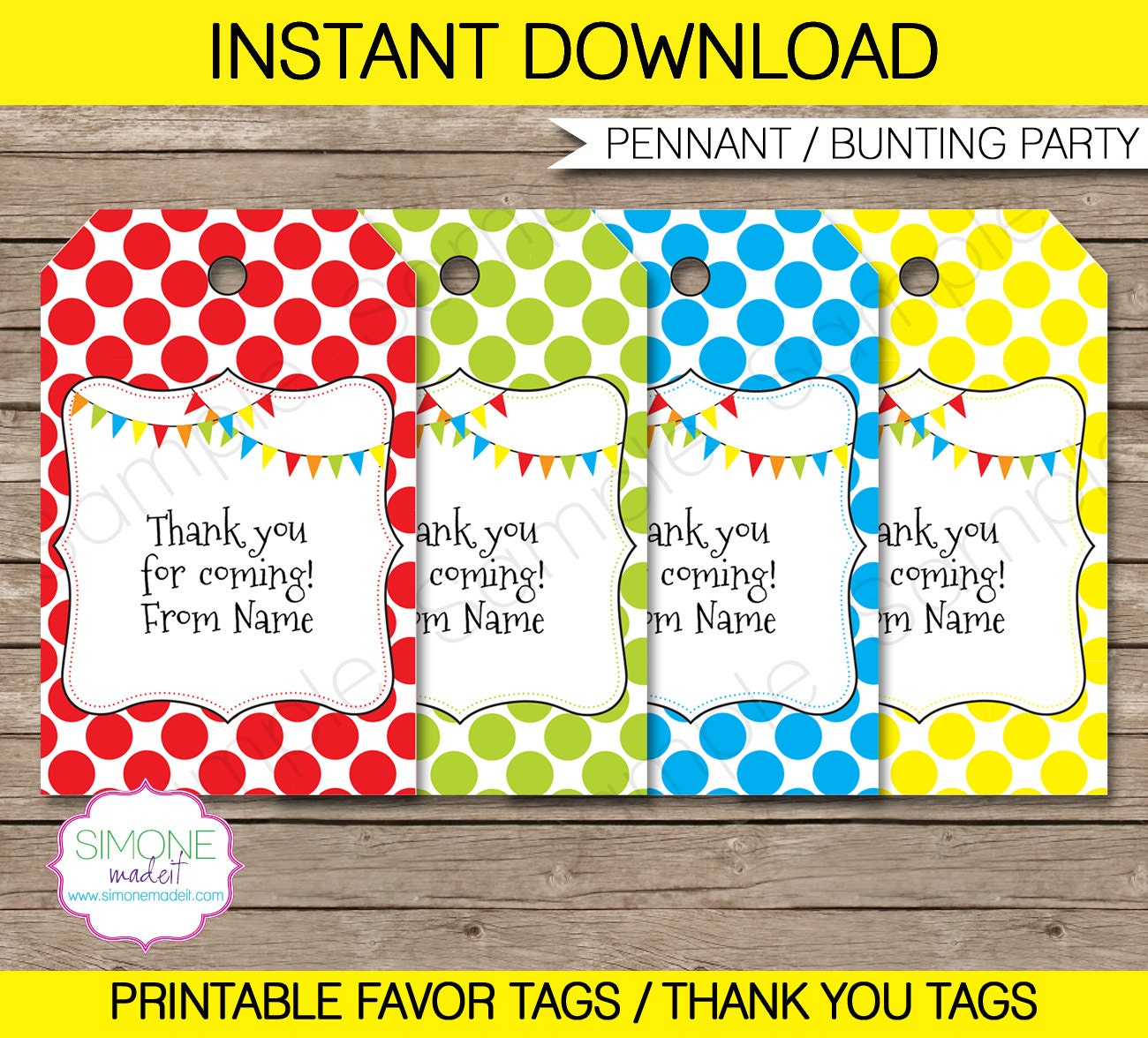 Editable Favor Tags Thank You Tags Birthday Party Favors