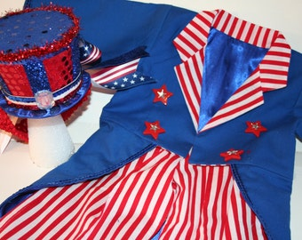 Girls or Boys - 2 Piece Uncle Sam Outfit - Jacket and Pants - Birthday, Photo Prop, Circus, Ringmaster, Uncle Sam, July 4th, 4th of July