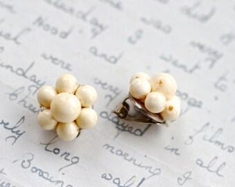 Beige Clip on Earrings - Vintage Off White Flowers