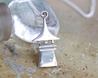 Little Pagoda Necklace - Sterling Silver Small Pendant on Chain