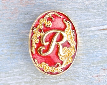 R is for Romance - Letter R Initial Pin Badge Brooch - Hand Enameled Made in England
