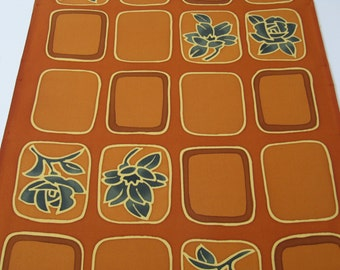 2 yds Japanese Kimono silk, rust brown honey golden vintage haori fabric, 100 percent silk, stylized squares with green golden flowers,