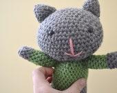 Cleo the Cat Kitten Kitty Plush Plushie Crochet Amigurumi Softie Knitted Animal READY TO SHIP
