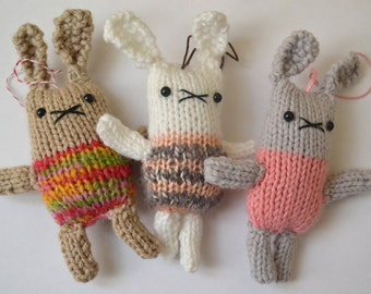 Bitty Buns Plush Plushie Rabbit Bunny Toy Amigurumi Knitted Doll Ornament Christmas READY TO SHIP