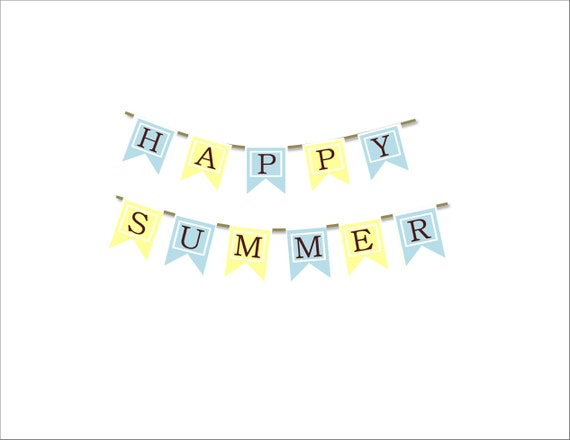 Happy Summer Banner Printable Print Your own Seasonal Banners Pdf Printable Banner Make Your Own Craft All Summer Winter Spring Autumn