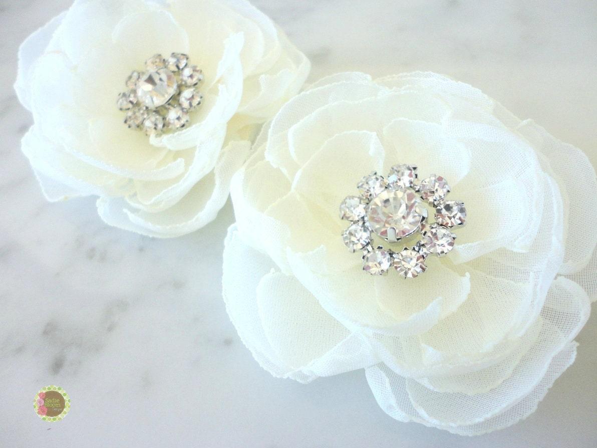 Bridal Ivory Flower Hair Accessories : Wedding hair flower ivory bridal accessories