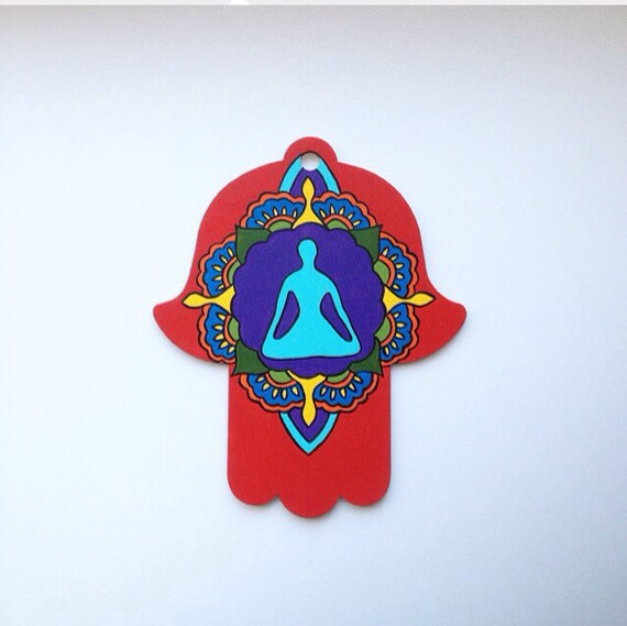 Yoga inspired wall decor : Hamsa wall art mehndi inspired yoga pose by leajoellehandmade
