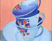 Vintage Still Life - Tea Cups - Original Oil Painting Retro painting