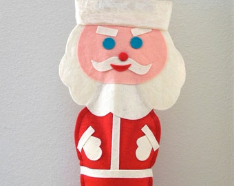 "Santa Felt Bottle Cover- Felt Liquor Bottle Holder ""Cheers"" Glitter Mid Century Party Decor Santa Claus Christmas in July Party Supplies"