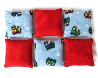 Bean Bags Light Blue Train & Red Flannel Boys Toy Toss Game Party Favor (set of 6) - US Shipping Included
