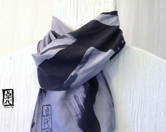 Hand Painted Silk Mens Scarf, Gray Japanese Scarf, Elements Scarf, Metal. Silk Scarves Takuyo. Gifts for men. Approx 7.5x52 in.