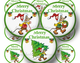 CHRISTMAS MOUSE, Digital Collage Sheet, Bottle Cap Images, 1 Inch Circles, Round Christmas, For Bottle Caps, Cupcake Toppers, Magnets