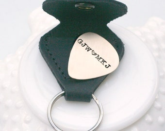 Personalized Guitar Pick with Leather Case - Brass Guitar Pick - Custom Guitar Pick - Plectrum - Gift for Musician