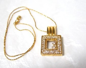 Floating Rhinestone Necklace Pendant, Clear Pave Rhinestones, 18K Gold Plate, 1970's, Summer, Conversation Piece, Gift Idea, Excellent