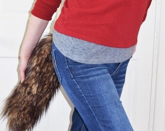 Brown Wolf Tail Fox Faux Fur with Clasp