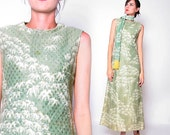 Vintage 60s Green Maxi dress with Scarf / S M