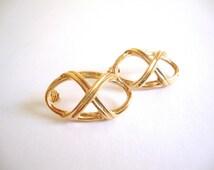 Vintage Avon Earrings / Golden Lattice / Sale 75% off / Woven/ Ribbon / Modernist