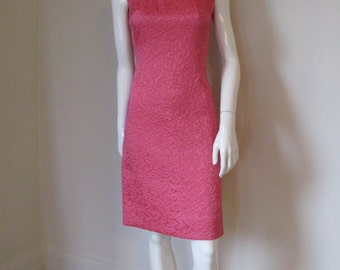 Vintage 1960s Carlye Quilted Hot Pink Sleeveless Dress