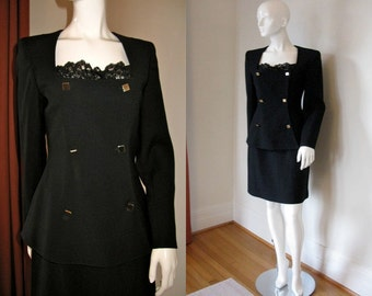 Vintage 1980s Claude Montana Black Wool Blend Skirt Suit with Lace Trim NWT