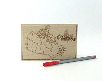 Canada Map Postcard - Wood Pyrography - Canadian Postcard