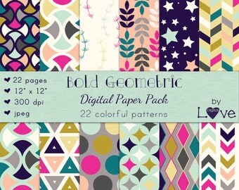 Bold Geometric Digital Paper Pack