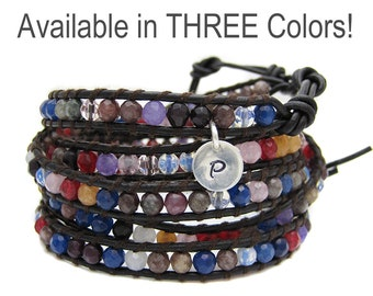 Leather Gemstone Wrap Bracelet - Personalized Initial Charm - Three Colors