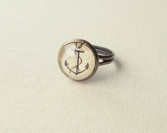 Anchor Ring. Nautical Ring. Adjustable Glass Ring.